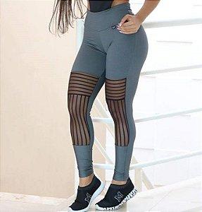 Calça Legging Jacquar com tule - Coleção Star