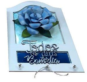 Porta Chaves Flor de Lata Azul
