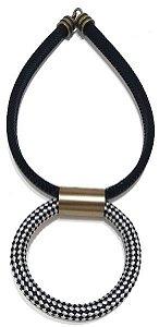 Colar de Corda Pingente Argola de Corda Metal Ouro Velho (Preto e Mesclado Branco) Fecho de encaixe