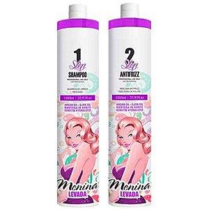 Kit Escova Progressiva Menina Levada (Shampoo 1000ml + Máscara 1000ml)