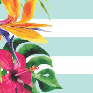 Porta Copos Floral Azul - Kit com 4 unidades