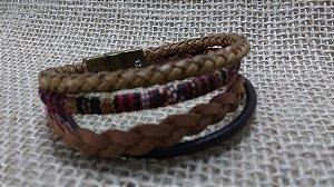 Bracelete de Couro - Marrom - Várias tiras - fecho magnético