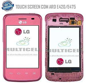 TELA TOUCH SCREEN COM ARO LG E420/E475 L1 II  ROSA ORIGINAL