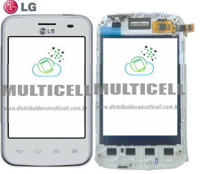 TELA TOUCH SCREEN LG E435 L3 II  BRANCO C/ ARO 100% ORIGINAL