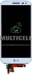 GABINETE FRONTAL TOUCH SCREEN LCD LG D618/D625 G2 MINI BRANCO COM ARO ORIGINAL