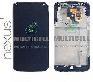 GABINETE FRONTAL MODULO COMPLETO LCD DISPLAY TOUCH SCREEN LG E960 NEXUS 4 PRETO 1ªLINHA AAA QUALIDADE GOLD