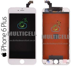 GABINETE FRONTAL DISPLAY LCD MODULO COMPLETO APPLE A1522 A1524 IPHONE 6 PLUS BRANCO 1ªLINHA QUALIDADE AAA