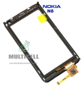 TELA TOUCH SCREEN NOKIA N8 C/ ARO PRETO ORIGINAL