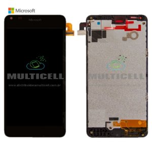 GABINETE FRONTAL TOUCH SCREEN MICROSOFT LUMIA 640 DTV RM-1109 PRETO ORIGINAL