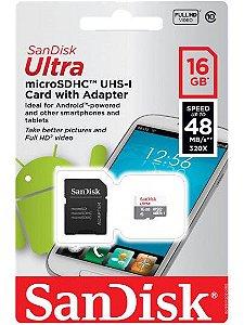 CARTÃO DE MEMÓRIA MICRO SDHC SANDISK ULTRA 16GB ORIGINAL