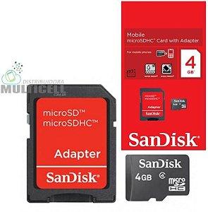 CARTÃO DE MEMORIA MICRO SD HC SANDISK 4GB