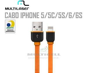 CABO FITA USB MULTILASER  IPHONE 5/5C/5S/6/6S LARANJA HOMOLOGADO ANATEL