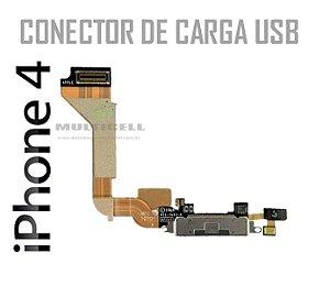 FLEX CONECTOR DE CARGA USB IPHONE 4 PRETO 1ªLINHA