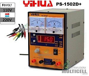 FONTE DE ALIMENTAÇÃO ANALÓGICA E DIGITAL YIHUA 1502D+  110V-220V BIVOLT
