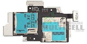 FLEX CONECTOR SLOT DE CHIP MATRIZ SIM CARD SAMSUNG I9260 GALAXY PREMIER ORIGINAL