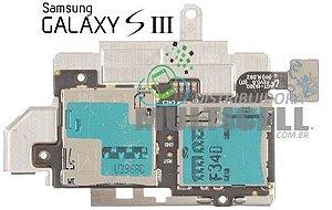 FLEX LEITOR MATRIZ SLOT CONECTOR DE CHIP SIM CARD SAMSUNG I9300 I9305 I9300i GALAXY S3 ORIGINAL