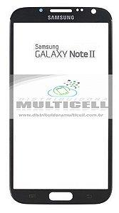 TELA VIDRO FRONTAL SAMSUNG N7100 GALANY NOTE II PRETO ORIGINAL