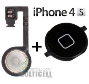FLEX BOTAO HOME APPLE IPHONE 4S PRETO ORIGINAL