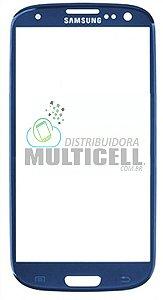 VIDRO FRONTAL SAMSUNG I9300 GALAXY S3 AZUL ORIGINAL
