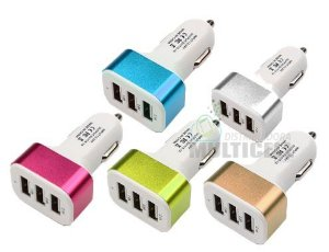 FONTE VEICULAR COM ENTRADA USB TRIPLA COLORS 12-24V 2.1A 2.0A 1.0A  CORES VARIADAS