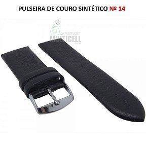 PULSEIRA DE COURO PARA RELÓGIO Nº 14 PRETO