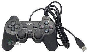 CONTROLE USB 2.0  JOYSTICK PARA COMPUTADOR PC BOYU PRETO