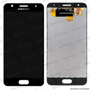 GABINETE FRONTAL DISPLAY LCD MODULO COMPLETO SAMSUNG G570 GALAXY J5 PRIME PRETO 1ªLINHA (QUALIDADE AAA)