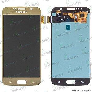GABINETE FRONTAL DISPLAY LCD MODULO COMPLETO SAMSUNG G920 GALAXY S6 FLAT DOURADO ORIGINAL IMPORTADO (QUALIDADE OLED)