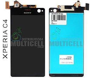 GABINETE FRONTAL MODULO COMPLETO LCD DISPLAY TOUCH SCREEN SONY E5303 E5306 E5333 E5343 E5363 XPERIA C4 SELFIE PRETO ORIGINAL