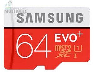 CARTÃO MICRO SD SAMSUNG UHS-I 64GB PRO EVO+ SDHC CLASS 10 VELOCIDADE 90 MB/s