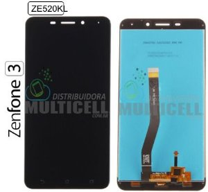 "GABINETE FRONTAL LCD DISPLAY TOUCH SCREEN MODULO COMPLETO ASUS Z017D ZE520KL ZENFONE 3 5.2"" PRETO 1ªLINHA QUALIDADE AAA"