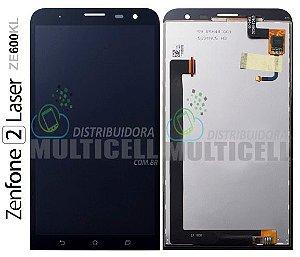 GABINETE FRONTAL DISPLAY LCD TOUCH SCREEN MODULO COMPLETO ASUS ZE600KL ZENFONE 2 LASER PRETO ORIGINAL