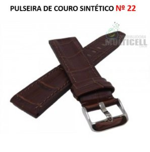 PULSEIRA DE COURO PARA RELÓGIO Nº 22 MARROM