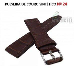 PULSEIRA DE COURO PARA RELÓGIO Nº 24 MARROM
