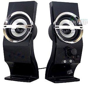 CAIXA DE SOM USB PARA COMPUTADOR E NOTEBOOKS 5 WATTS RMS STEREO COM ENTRADA PARA FONE E MICROFONE 80Hz-20KHz VOX CUBE PRETA