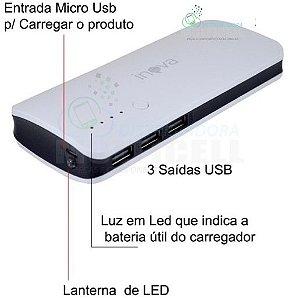 BATERIA EXTERNA POWER BANK RECARREGÁVEL PORTATIL INOVA 10000 mAh 3 ENTRADAS USB