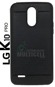 CAPA CASE DE SILICONE TPU TOP BLACK M400 M400DF LG K10 PRO PRETA ESCOVADA