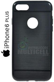 CAPA CASE DE SILICONE TPU TOP BLACK APLLE IPHONE 6 PLUS PRETA ESCOVADA