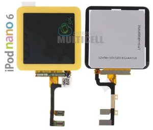 GABINETE FRONTAL LCD DISPLAY TOUCH SCREEN MODULO COMPLETO APPLE 821-1134-A IPOD NANO 6 AMARELO ORIGINAL