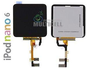 GABINETE FRONTAL LCD DISPLAY TOUCH SCREEN MODULO COMPLETO APPLE 821-1134-A IPOD NANO 6 PRETO ORIGINAL
