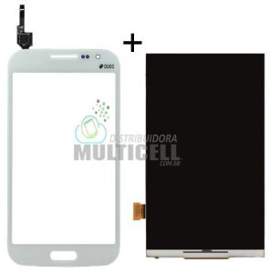 KIT COMBO DISPLAY LCD + TELA TOUCH SCREEN SAMSUNG I8550 I8552 BRANCO 1ªLINHA AAA QUALIDADE GOLD