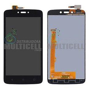 DISPLAY LCD GABINETE FRONTAL MODULO COMPLETO MOTOROLA XT1726 MOTO C PLUS PRETO 1ª LINHA QUALIDADE AAA
