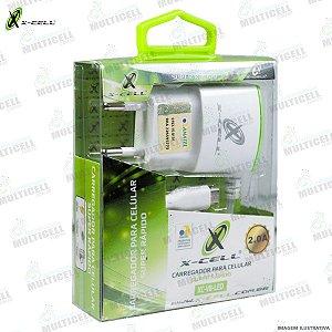 CARREGADOR X-CELL 2.0A MICRO USB V8 CARGA SUPER RAPIDO COM ENTRADA USB EXTRA