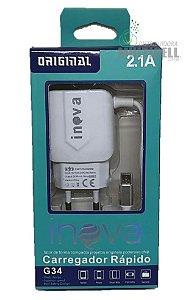 CARREGADOR MICRO USB V8 2.1A INOVA G34 BRANCO