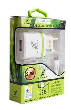 CARREGADOR TURBO ULTRA RAPIDO CASA PAREDE X-CELL 2.5A COM ENTRADA USB EXTRA (ENTRADA V8)