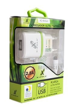 CARREGADOR TURBO ULTRA RAPIDO CASA PAREDE X-CELL 2.5A COM ENTRADA USB EXTRA (ENTRADA IPHONE)