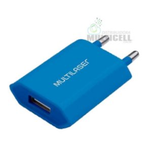 FONTE USB CARREGADOR DE PAREDE SMARTOGO 2.5A MULTILASER AZUL