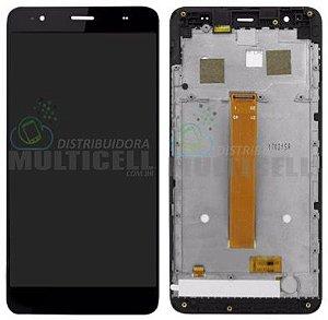 GABINETE FRONTAL DISPLAY LCD TELA TOUCH SCRENN MODULO COMPLETO POSITIVO QUANTUM Q5 MUV PRO PRETO ORIGINAL
