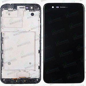 GABINETE FRONTAL DISPLAY LCD MODULO COMPLETO LG X410 K11 PLUS PRETO 1ªLINHA QUALIDADE AAA