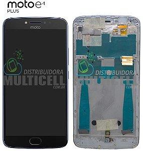 GABINETE FRONTAL MODULO COMPLETO LCD DISPLAY MOTOROLA XT1773 MOTO E4 PLUS AZUL COM ARO ORIGINAL